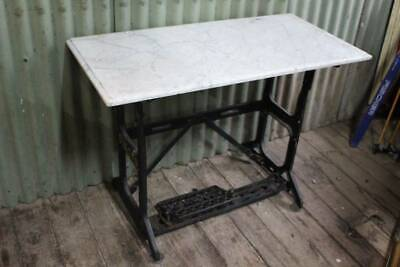 An Antique Marble Slab Top  - Large Singer Treadle Base in other Listing