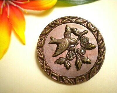 Lg Antique Victorian Picture Button Cut Steels Flowers Screen Back Tint Metal