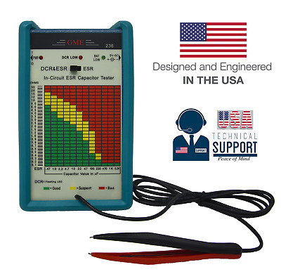 GME Model 236 In-Circuit ESR & DCR Capacitor Tester 1-Yr USA Warranty+Support