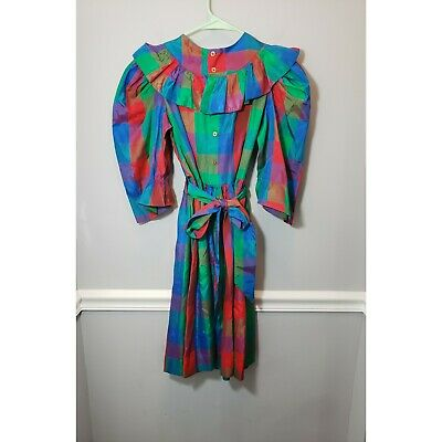 Vintage Girl's Yves Saint Laurent 80's Colorful Plaid Dress Size 14