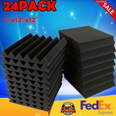 "24 Pack 2"" X 12"" X 12"" Acoustic Foam Tiles Panel Wedge Studio Soundproofing Wall"