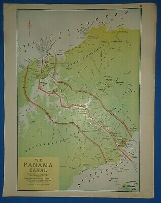 Vintage Circa 1923 THE PANAMA CANAL MAP Old Antique Original Atlas Map