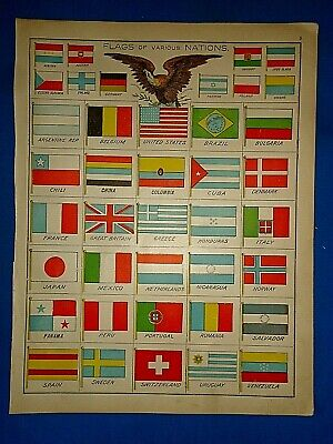 Vintage Circa 1923 Cram's Atlas Illustration ~ FLAGS of VARIOUS NATIONS