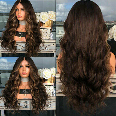 """28"""" Ladies Ombre Blonde Long Curly Wigs Womens Natural Wavy Hairs Cosplay Wig"""