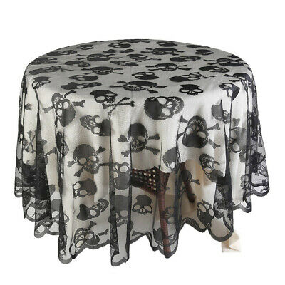 USA Halloween Black Skull Tablecloth Round Table Topper Home Decoration 70inch