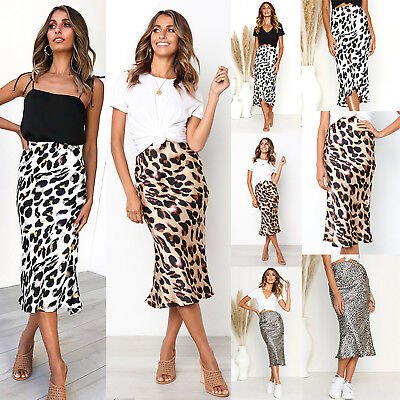 Women Leopard Print High Waisted Midi Skirt Summer Holiday Party Skirts Sundress