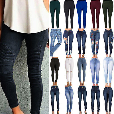Women Skinny Pants Jeggings Stretchy High Waist Jeans Pencil Plus Size Trousers