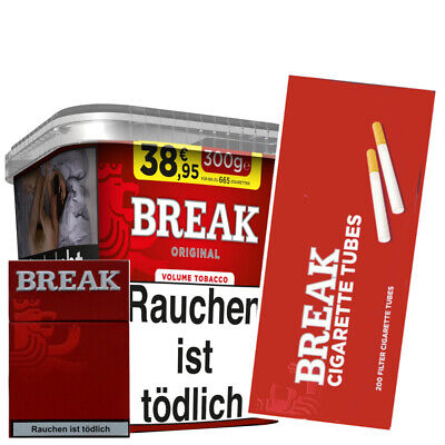 2 x Break Red Volume Tobacco 300g+5x200 Break Hülsen(1000 St)+Break Box