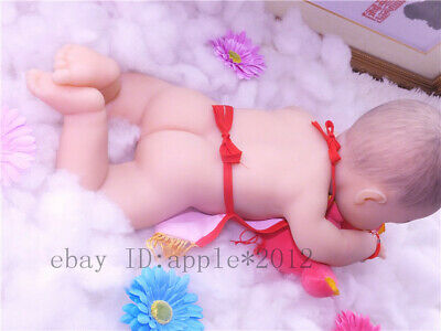 "18""/46cm 3.2kg/7.1lb Full Body Solid Soft Silicone Reborn Baby GIRL Doll toy"