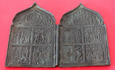 Antique Russian Orthodox Bronze Icon Diptych - 19th century