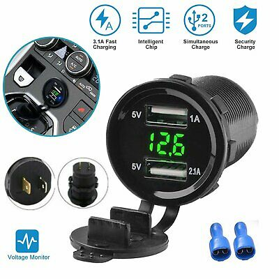 12V Car Cigarette Lighter Socket Dual 4.2A USB Port Charger Power Outlet LED