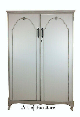 Grey Vintage French Country Style Carved Wardrobe, Armoire hand painted Upcycled