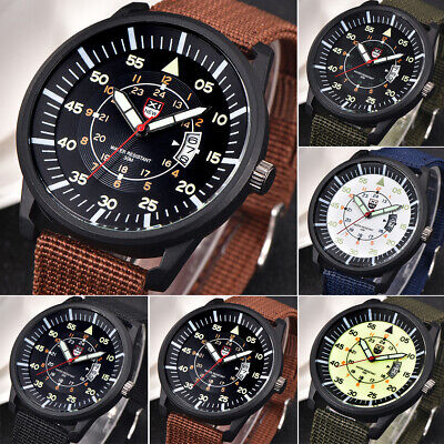 Military Sport Mens Quartz Army Date Analog Luminous Canvas  Wrist Watches