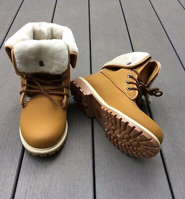 Womens/ Ladies Faux Fur Lined Hiking Boots Camel/ Tan Size 4/ 37 NWB