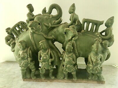 Sawankhalok green caladon glazed elephants from 14-15th century Thailand