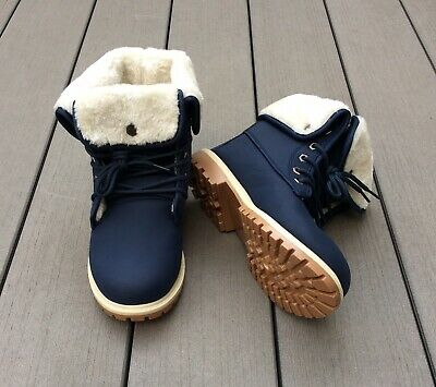 Womens/ Ladies Faux Fur Lined Hiking Boots Navy Blue Size 8/ 41 NWB