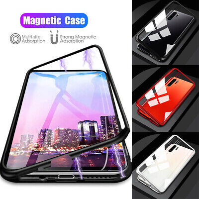 For Samsung Note 10 S10 Plus Magnetic Adsorption Metal Tempered Glass Case Cover