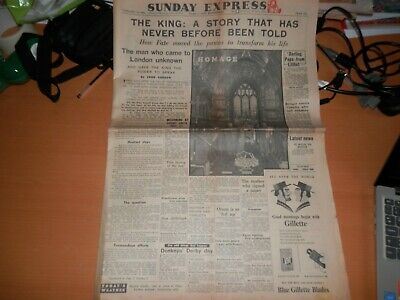 The King's Speech original newspaper Sunday Express 10 Feb 1952 Lionel Logue