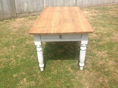 Rustic Farmhouse Kitchen / Dining Table, Pine, Chalk White. Refurbished. Courier
