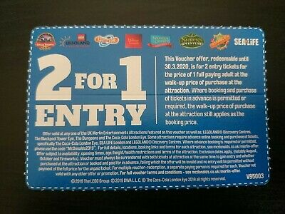2 for 1 Entry. Alton Towers, Legoland, Thorpe Park, Madame Tussauds, SeaLife