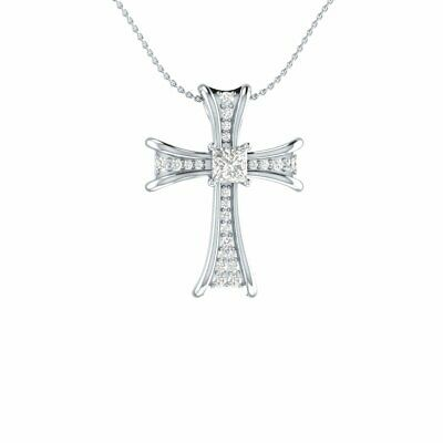 0.50 Ct Round cut Simulated Diamond Hip Hop Cross Pendant With 18 Chain 10K Rose Gold