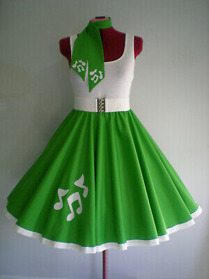 "ROCK N ROLL/ROCKABILLY ""Music Notes"" SKIRT-SCARF S-M Emerald Green"