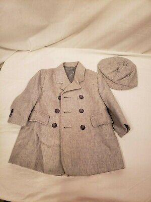 Antique Child/Toddler Button Up Coat w/Matching Hat, No Tags, Light Blue Color