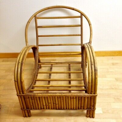 Vintage Midcentury Frankl Style Rattan Chair, Original Cushion