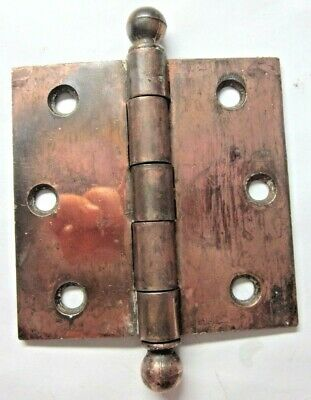 "1 Antique McK McKinney 3-1/2"" Mortise Door Hinge Ball Tips Ends Japanned Copper"
