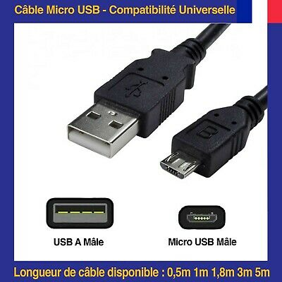 Câble de charge micro USB Pour Mobile Samsung Nokia LG Sony HTC Blackberry