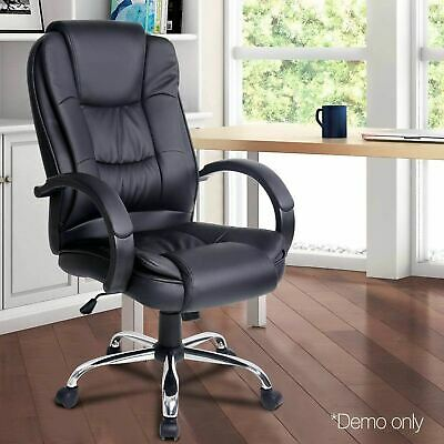 Executive PU Leather Office Desk Computer Chair - Black- $124.8