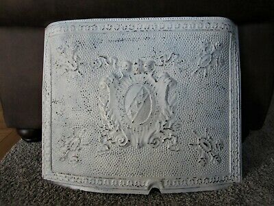 Shabby Victorian Fireplace Mantle Front Insert Primitive Chic Metal Cover Crest