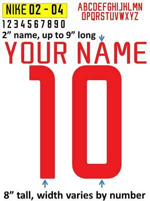 SWOOSH 2002 - 2004 IRON ON heat press transfer numbers for soccer jersey