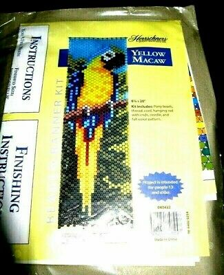 """""""Yellow Macaw"""" Beaded Banner Kit  (actually a Blue and Gold Macaw)"""