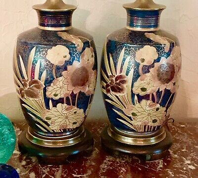 2 Tropical Asian Oriental Table Lamps Frederick Cooper Vintage Brass 3 Way