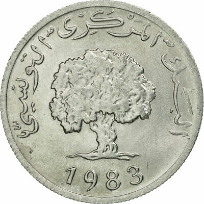 [#536283] Coin, Tunisia, 5 Millim, 1983, Paris, MS(60-62), Aluminum, KM:282
