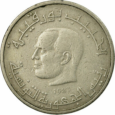 [#687415] Coin, Tunisia, 1/2 Dinar, 1983, Paris, VF(30-35), Copper-nickel