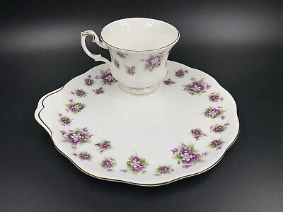Royal Albert Sweet Violets Cake Plate with Tea Cup Set England Bone China