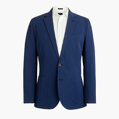 J. Crew Men's Slim Fit Thompson Seersucker Blazer Size 46 NWT Navy Blue Cotton