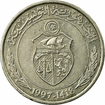 [#687418] Coin, Tunisia, 1/2 Dinar, 1997/AH1418, Paris, EF(40-45)