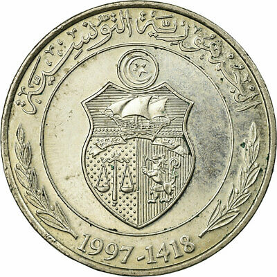 [#687157] Coin, Tunisia, Dinar, 1997/AH1418, Paris, EF(40-45), Copper-nickel