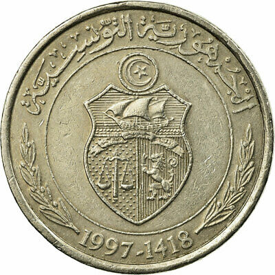 [#674090] Coin, Tunisia, 1/2 Dinar, 1997, Paris, EF(40-45), Copper-nickel