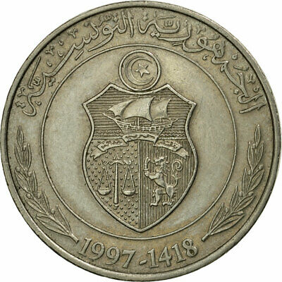 [#536355] Coin, Tunisia, Dinar, 1997/AH1418, Paris, EF(40-45), Copper-nickel