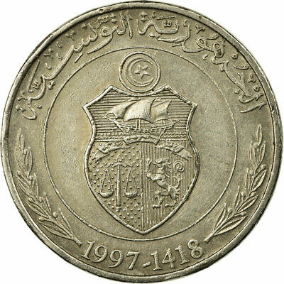 [#673737] Coin, Tunisia, 1/2 Dinar, 1997, Paris, EF(40-45), Copper-nickel