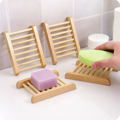 Natural Wood Soap Tray Holder Dish Storage Bath Shower Plate Home-Bathroo