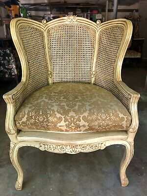 Queen Anne Style Double Cane Wing Back Chair Reproduction