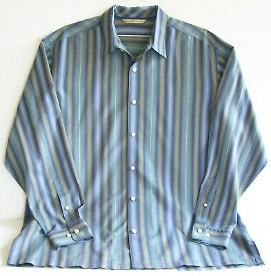 GOEGEOUS L/S 100% SiLK SHIRT by TOMMY BAHAMA with Magnificent Stripes - Size XL