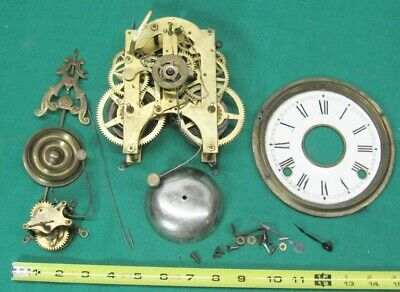 Antique French Marca DA Fabrica Clock Movement and Related Parts Not Running
