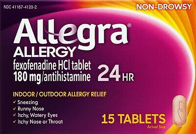 Allegra Allergy 24 Hour Relief Non Drowsy 15 Tablets exp 10/19