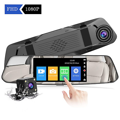 【2019 New Version】CHORTAU Mirror Dash Cam 4.8 Inches Touch Screen Full HD 1080P,